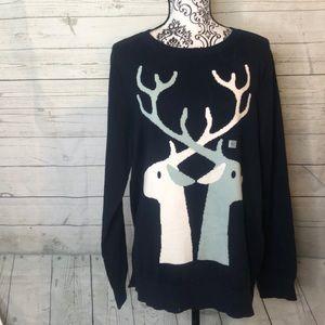 Loft Blue Christmas Holiday Reindeer Deer XL Sweat